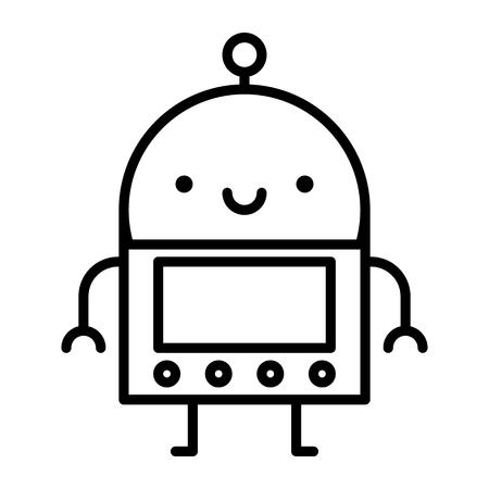 Vector Cartoon Robot Isolated On White Background Çizim