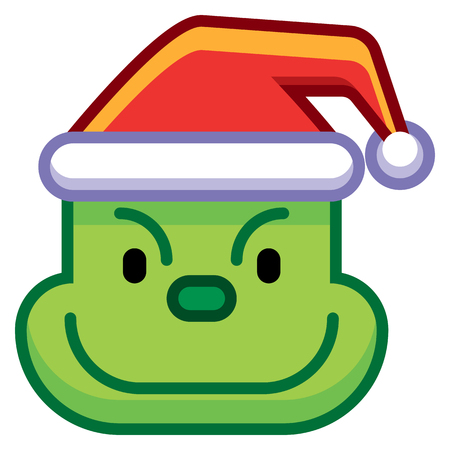 A Vector Cartoon Christmas Green Monster Isolated On White Background Illustration