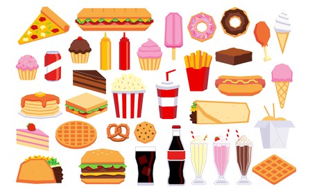Set Of Vector Cartoon Junk Food Isolated On White Background Vettoriali