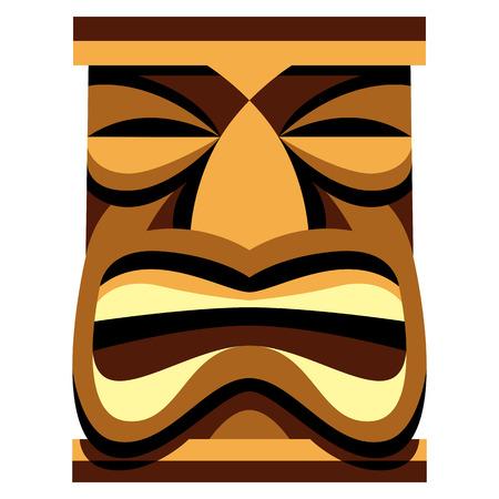 Vector Cartoon Tiki Idol Isolated On White Background Illusztráció