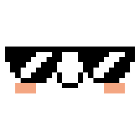 Vector Pixel Cartoon Face With Sunglasses
