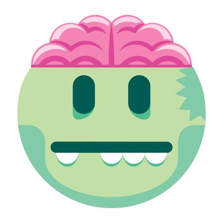 Vector de dibujos animados Zombie Emoji aislado sobre fondo blanco Foto de archivo - 91855648