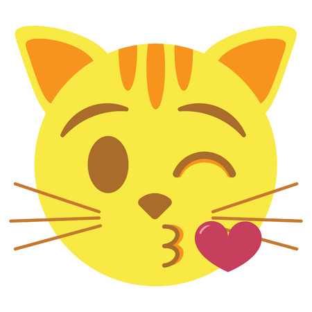 cute kawaii cat emoji blowing a kiss colorful isolated Stock Photo