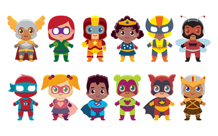 Cute kawaii set superhero colorful isolated