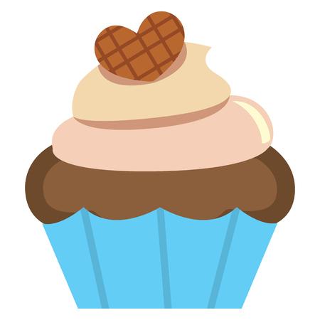 Vector cute kawaii cupcake colorful isolated