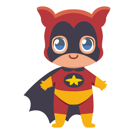 Cute kawaii kid superhero colorful isolated