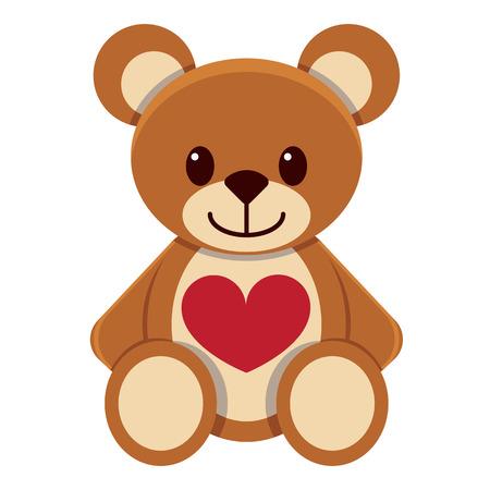 cute kawaii teddy bear colorful isolated