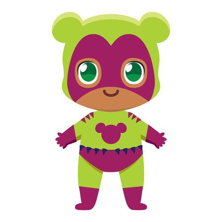 Cute kawaii kid superhero colorful isolated