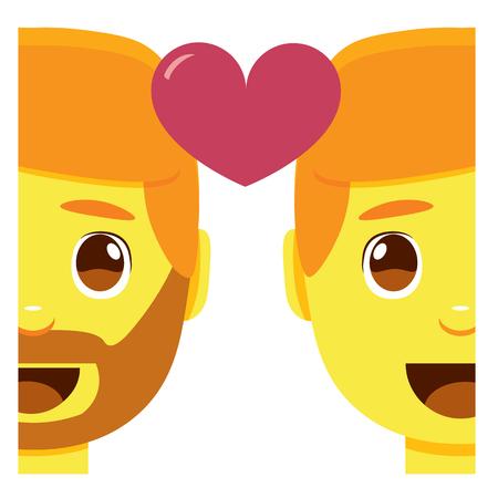 Cute gay couple smiling emoji