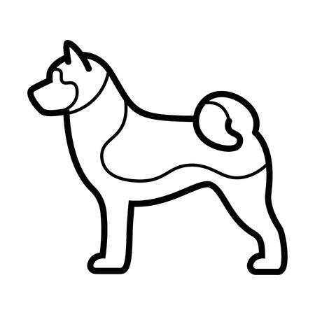 Vector Akita Inu Dog Icon Isolated On White Background Illustration