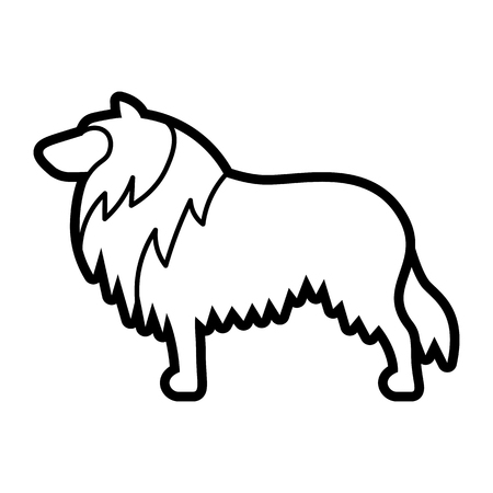 Vector Rough Collie Dog Icon Isolated On White Background