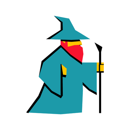 Vector RPG Medieval Fantasy Wizard Character Isolated