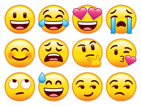 Vektor-Set von niedlichen Emojis isoliert auf weißem Hintergrund