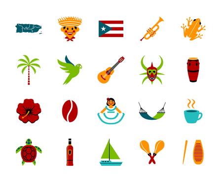 Insieme di vettore delle icone di Porto Rico isolate su priorità bassa bianca Vettoriali