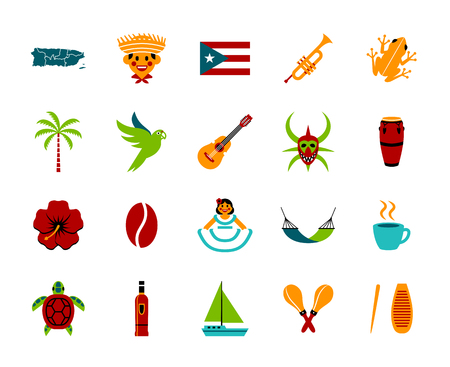 Vector Set Of Puerto Rico Icons Isolated On White Background Çizim