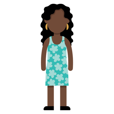 Vector Cartoon Flat Style Young Female Character Isolated