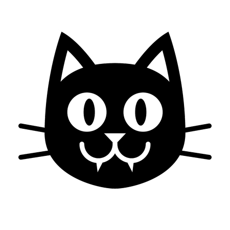 Vector Cartoon Black Cat Face Isolated On White Background Illustration
