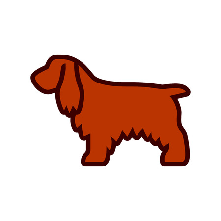 Vector Cocker Spaniel Dog Icon Isolated On White Background