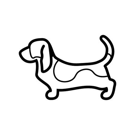 Vector Basset Hound Dog Icon Isolated On White Background