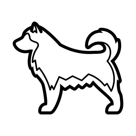 Vector Alaskan Malamute Dog Icon Isolated On White Background