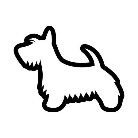 Vector Scottish Terrier Dog Icon Isolated On White Background