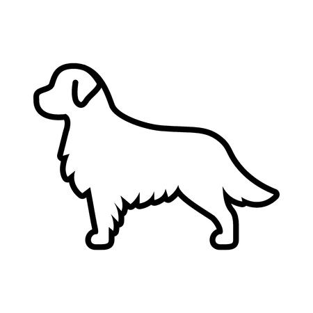 Vector Golden Retriever Dog Icon Isolated On White Background Illustration