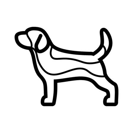 Vector Beagle Dog Icon Isolated On White Background