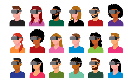 Vector Set Of Characters Using Virtual Reality Device Isolated