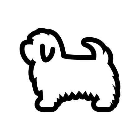 Vector icono de perro maltés aislado sobre fondo blanco