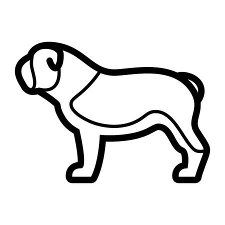 Vector Bulldog Dog Icon Isolated On White Background