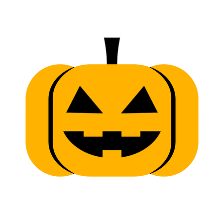 Vector Cartoon Pumpkin Face Isolated On White Background