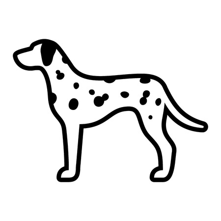 Vector Dalmatian Dog Icon Isolated On White Background