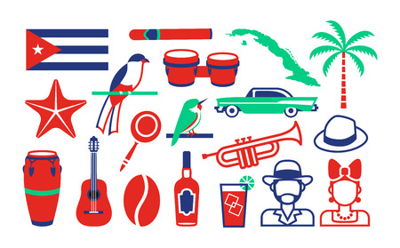 Vector Set Of Cuba Icons Isolated On White Background 일러스트