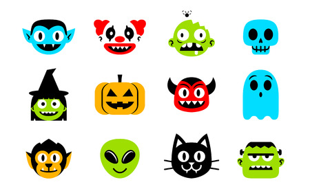 Vector Cartoon Set Of Halloween Monsters Isolated