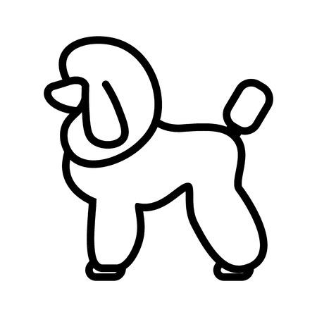 Vector Poodle Dog Icon Isolated On White Background