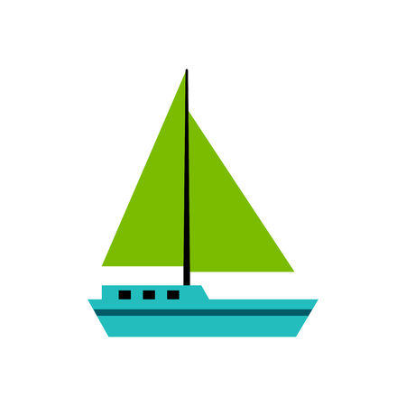 Vector Sailboat Icon Isolated On White Background