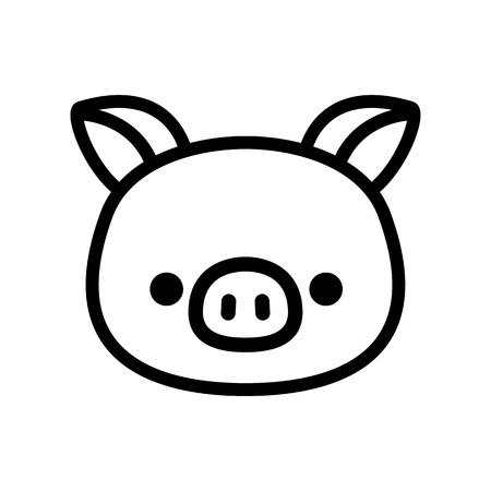 Vector Cartoon Pig Icon Isolated On White Background 일러스트