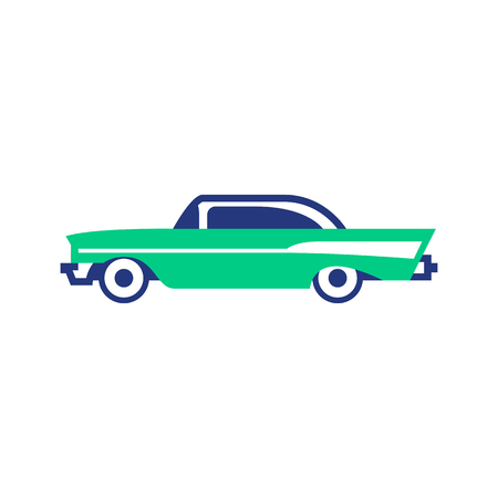Vector Cartoon Abstract Vintage Car Icon Isolated 일러스트