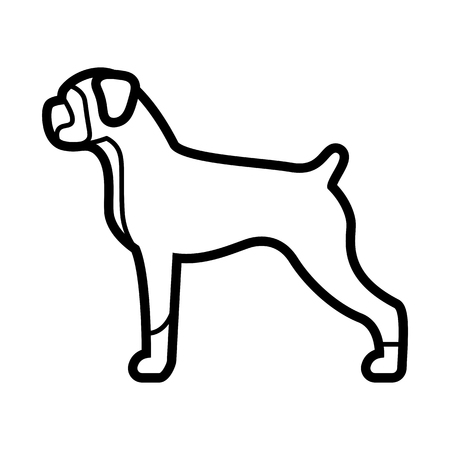 Vector Boxer Dog Icon Isolated On White Background