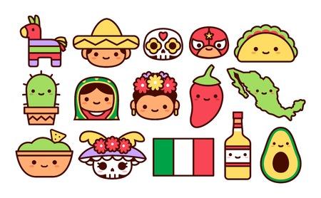Ensemble vectoriel d'icônes de dessin animé mexicain isolé