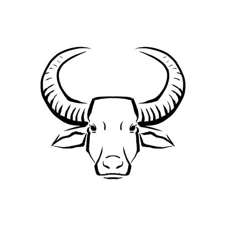 Vector Buffalo Illustration Isolated On White Background