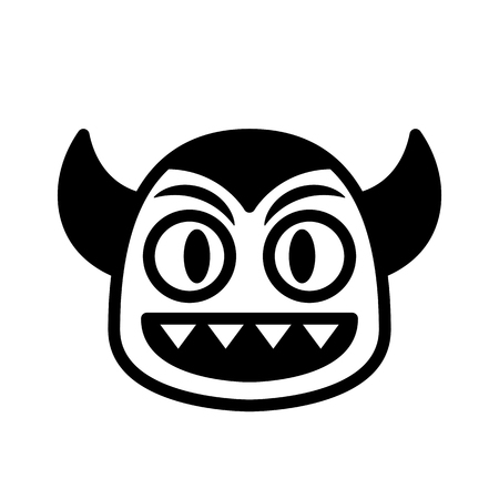 Vector Cartoon Devil Face Isolated On White Background