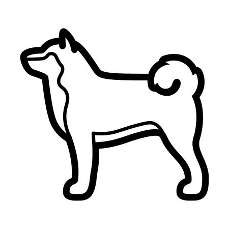 Vector Shiba Inu Dog Icon Isolated On White Background Illustration