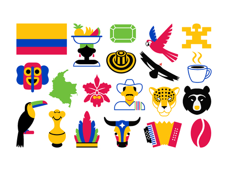 Vector Set Of Colombia Icons Isolated On White Background Stock Illustratie