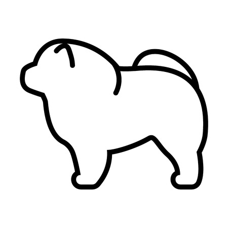 Vector Chow Chow Dog Icon Isolated On White Background
