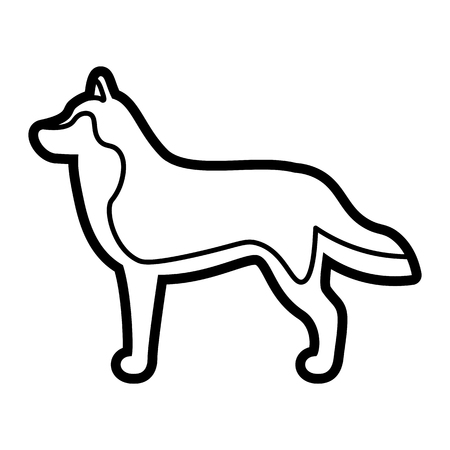 Vector Siberian Husky Dog Icon Isolated On White Background Illustration
