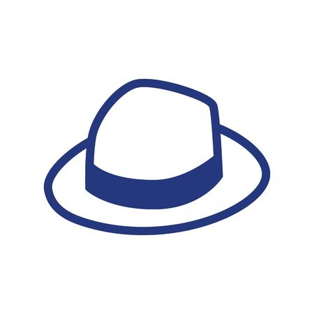 Vector Cartoon Abstract Panama Hat Icon Isolated