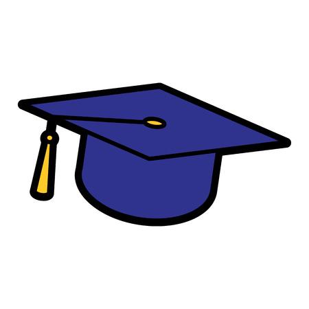 Icône de chapeau de graduation de vecteur isolé sur fond blanc