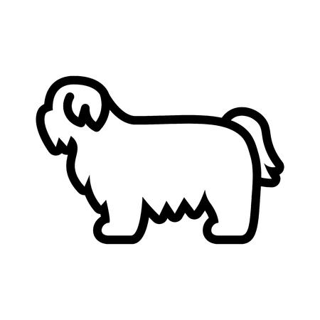 Vector Shih Tzu Dog Icon Isolated On White Background Illustration
