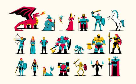 Insieme di vettore dei personaggi di fantasia medievale RPG isolati Vettoriali
